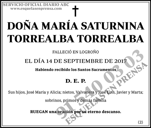 María Saturnina Torrealba Torrealba